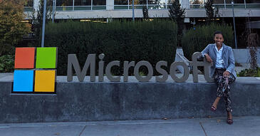 Trinity Sheppard sitting outside Microsoft