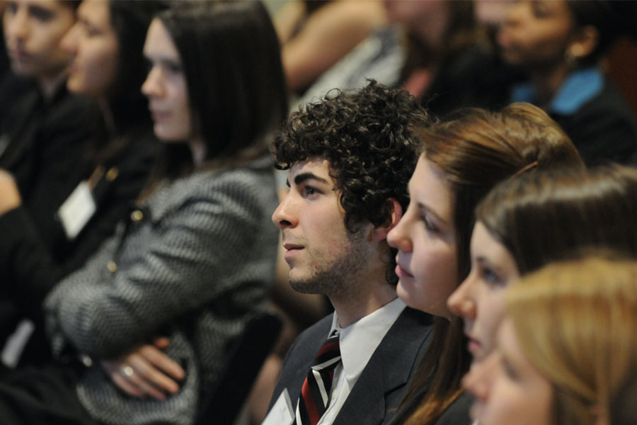 Students attending event