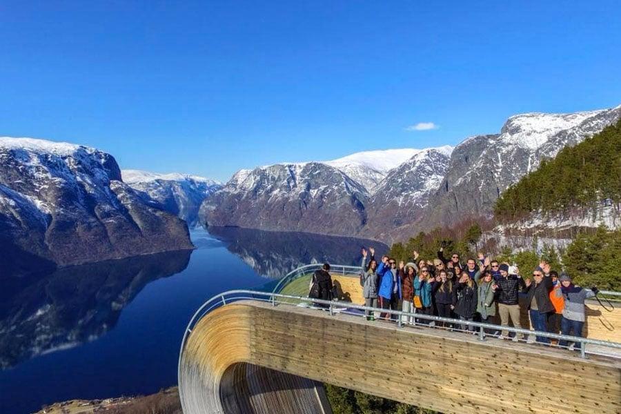 Kogod students waving hello in Norway