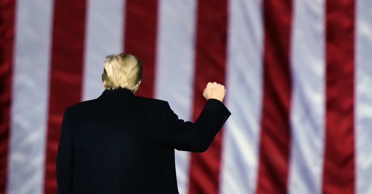 Trump raising his fist in front of an American flag