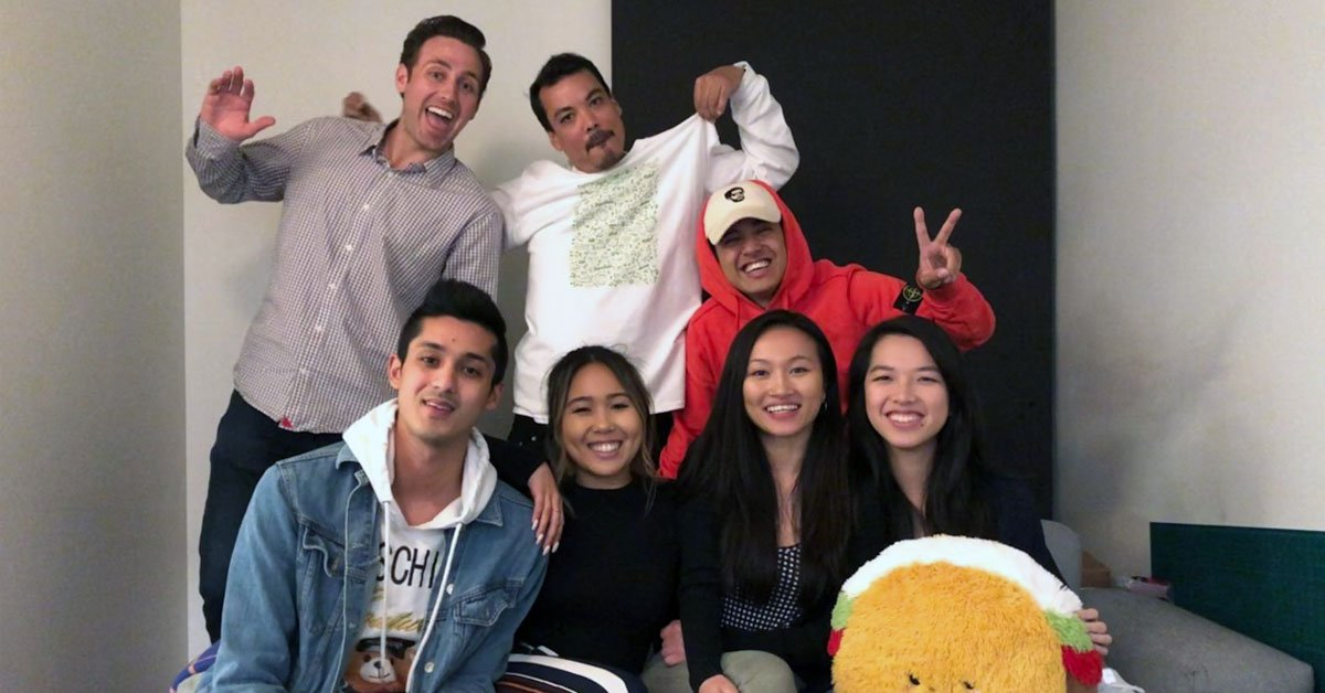 Rui Huang with a group of people