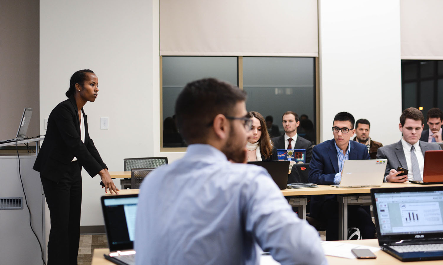 Members of the Student Managed Investment Fund deciding how to invest