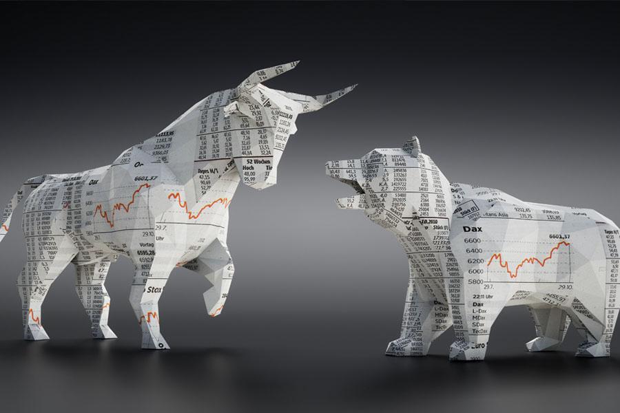 Bull and bear representing the stock market