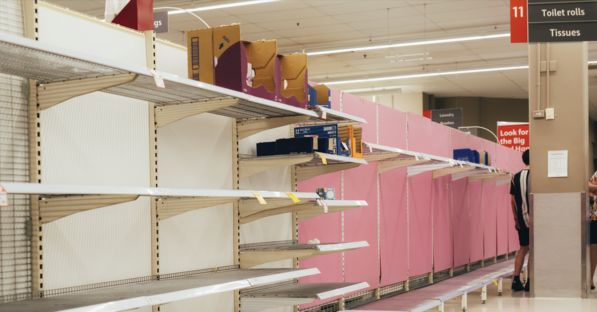 Empty shelves in a store